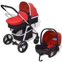 vidaXL Carrinho de bebé 3 em 1 alumínio vermelho e preto