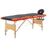 vidaXL Mesa de massagens dobrável 4 zonas madeira preto e laranja