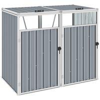 vidaXL Abrigo para caixote do lixo duplo 143x81x121 cm aço cinzento