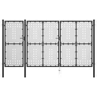 vidaXL Portão de jardim 400x150 cm aço preto