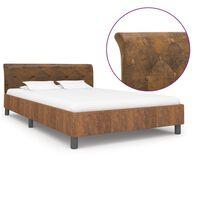 vidaXL Estrutura de cama 140x200 cm camurça artificial castanho