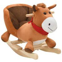 vidaXL Animal de baloiçar cavalo em pelúcia 60x32x50 cm castanho