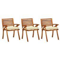 vidaXL Cadeiras de jantar jardim c/ almofadões 3 pcs madeira acácia