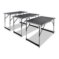 vidaXL Conjunto mesas de campismo 3 pcs desdobráveis altura ajustável
