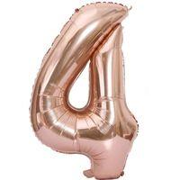 Balão Numérico 102 Cm, Numero 4 - Rosa