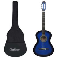 "vidaXL 12 peças conjunto guitarra clássica iniciantes 4/4 39"" azul"