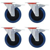 vidaXL Rodas giratórias com travões duplos 4 pcs 125 mm