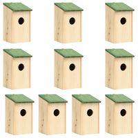 vidaXL Casas para pássaros 10 pcs 12x12x22 cm madeira de abeto maciça