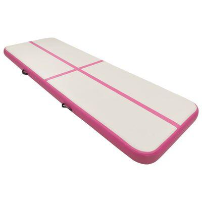 vidaXL Colchão de ginástica insuflável c/ bomba 500x100x20 cm PVC rosa, Pink