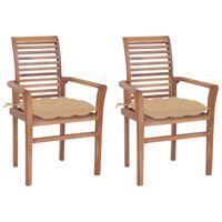 vidaXL Cadeiras de jantar c/ almofadões bege 2 pcs teca maciça