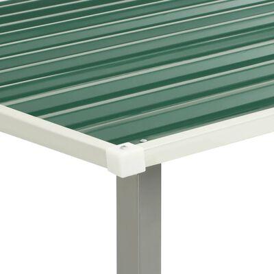 vidaXL Abrigo de jardim com portas de correr 386x131x178 cm aço verde