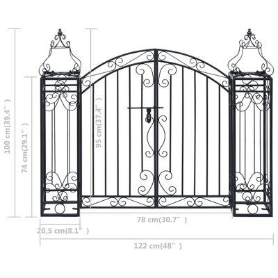 vidaXL Portão de jardim ornamental 122x20,5x100 cm ferro forjado