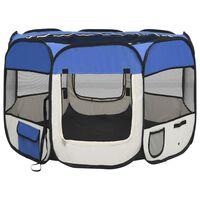 vidaXL Parque dobrável p/ cão c/ saco de transporte 90x90x58 cm azul