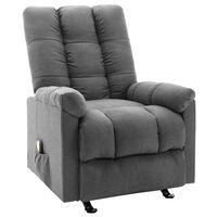 vidaXL Poltrona de massagens reclinável tecido cinzento-claro