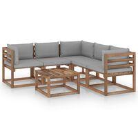 vidaxL 6 pcs conjunto lounge c/ almofadões cinzentos pinho impregnado