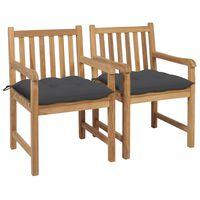 vidaXL Cadeiras de jardim c/ almofadões antracite 2 pcs teca maciça