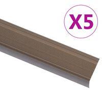 vidaXL Perfil p/ escada em forma de L 5 pcs alumínio 90 cm castanho
