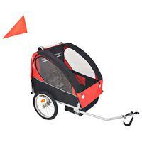 vidaXL Atrelado de bicicleta para crianças vermelho e preto 30 kg