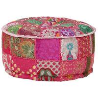 vidaXL Pufe de retalhos redondo algodão artesanal 40x20 cm rosa