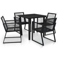 vidaXL 5 pcs conjunto de jantar para jardim vime de PVC preto