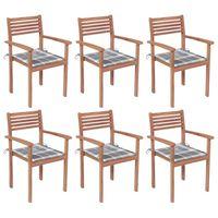 vidaXL Cadeiras de jardim empilháveis c/ almofadões 6 pcs teca maciça