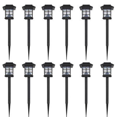 Lâmpada solar com led e pico-de-chão / 8,6 x 8,6 x 38 cm, 12 peças
