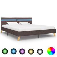 vidaXL Estrutura cama c/ LEDs 180x200cm tecido cinzento-acastanhado