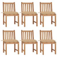 vidaXL Cadeiras de jardim 6 pcs c/ almofadões madeira de teca maciça