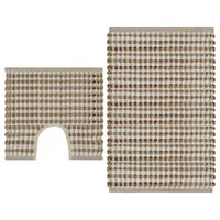 vidaXL Conjunto de tapetes de WC artesanais juta natural e branco