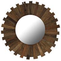 vidaXL Espelho de parede em madeira recuperada maciça 70 cm