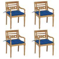 vidaXL Cadeiras Batávia com almofadões 4 pcs madeira de teca maciça