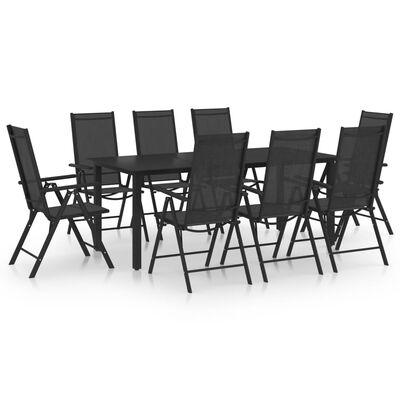 vidaXL 9 pcs conjunto de jantar para jardim alumínio preto
