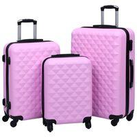 vidaXL Conjunto de tróleis estojo rígido 3 pcs ABS rosa