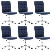 vidaXL Cadeiras de jantar 6 pcs tecido azul