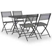 vidaXL 7pcs conjunto jantar dobrável exterior aço e textilene cinzento