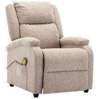 vidaXL Cadeira de massagens reclinável tecido creme