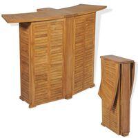 vidaXL Mesa de bar dobrável 155x53x105 cm madeira teca maciça