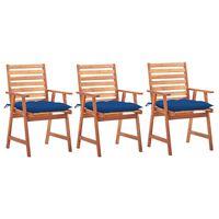 vidaXL Cadeiras de jantar p/ jardim 3 pcs c/ almofadões acácia maciça