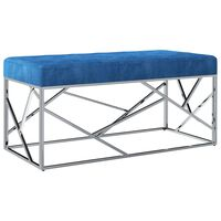 vidaXL Banco 97 cm veludo azul e aço inoxidável