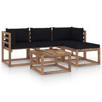 vidaXL 5 pcs conjunto lounge p/ jardim c/ almofadões pretos