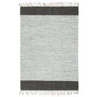 vidaXL Tapete chindi tecido à mão couro 160x230cm cinzento-claro/preto