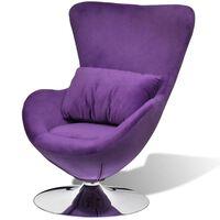 vidaXL Cadeira giratória em forma de ovo c/ almofadão veludo roxo