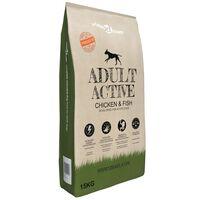 vidaXL Ração premium para cães Adult Active Chicken & Fish 15 kg