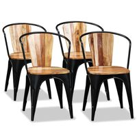 vidaXL Cadeiras de jantar 4 pcs madeira de acácia maciça