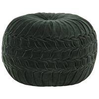vidaXL Pufe em veludo de algodão design smock 40x30 cm verde