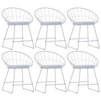 vidaXL Cadeiras jantar c/ assentos couro artificial 6 pcs aço branco