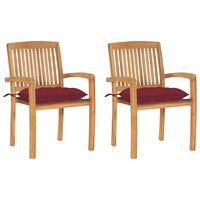 vidaXL Cadeiras jardim c/ almofadões vermelho tinto 2 pcs teca maciça
