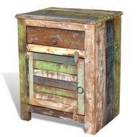 vidaXL Mesa de apoio com 1 gaveta e 1 porta, madeira reciclada