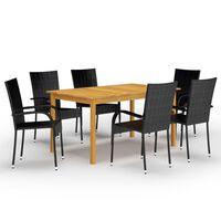 vidaXL 7 pcs conjunto de jantar para jardim preto
