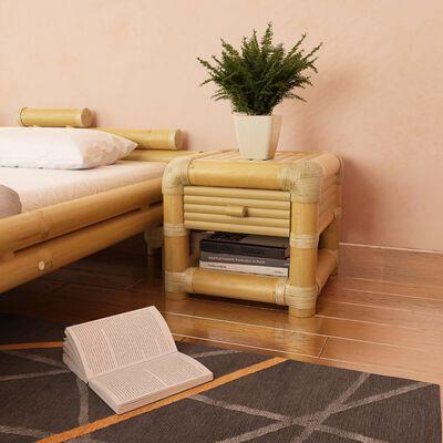 vidaXL Mesa de cabeceira 45x45x40 cm em bambu natural